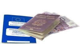 Pasaporte italiano y pasaporte de los animales domésticos Imágenes de archivo libres de regalías