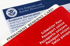 Pasaporte suizo, tarjeta residente y forma de aduanas Fotografía de archivo libre de regalías