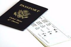 Pasaporte y boleto Foto de archivo libre de regalías