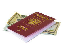 Pasaporte y dólares foto de archivo libre de regalías