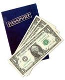 Pasaporte y dólares genéricos Fotografía de archivo