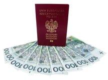 Pasaporte y dinero Foto de archivo libre de regalías