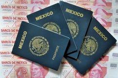 Pasaporte y dinero mexicanos Foto de archivo