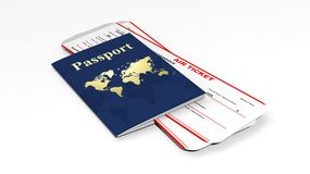 Pasaporte y dos billetes de avión Imagen de archivo