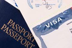 Pasaporte y visa de los E fotografía de archivo