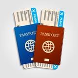 Pasaportes con los boletos Imagenes de archivo