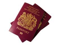Pasaportes de Reino Unido Imágenes de archivo libres de regalías