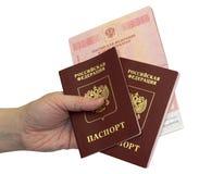 Pasaportes en una mano en fondo aislado Foto de archivo