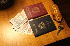 Pasaportes en una tabla en Myanmar fotografía de archivo libre de regalías