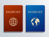 Pasaportes modernos del vector fijados Foto de archivo