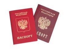 Pasaportes rusos Imagenes de archivo