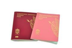 Pasaportes suecos aislados Foto de archivo