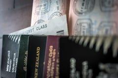 Pasaportes y visa imagen de archivo