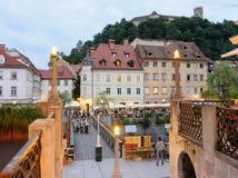 Pasarela de madera provisional de Ljubljana Fotos de archivo libres de regalías