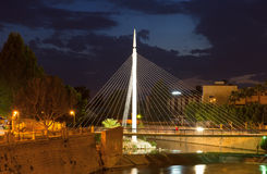 Pasarela del Malecon over Segura  in night. Murcia Royalty Free Stock Photo