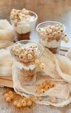 Pasas blancas y yogur Imagen de archivo libre de regalías