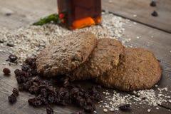 pasas, galletas de harina de avena foto de archivo