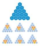 Pascal-driehoeksberekening, binomiale coëfficiënten, wiskunde vector illustratie