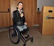 Pascale Bercovitch; always optimistic, strives forward. Pascale Bercovitch is an Israeli paralympic athlete. Was born in France.  In her youth, she was an Royalty Free Stock Images