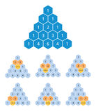 Pascalstriangelberäkning, binomiala koefficienter, matematik vektor illustrationer