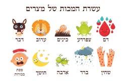 Pascha Tien Plagen van Egypte in Hebreeuwse Vector royalty-vrije stock afbeelding