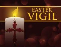 Paschal Candle con effetto della luce tenue per veglia di Pasqua, illustrazione di vettore illustrazione di stock
