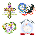 Paschal Easter holiday vector icons and symbols Stock Photo