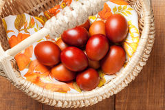 Paschal eggs in the basket Royalty Free Stock Photo