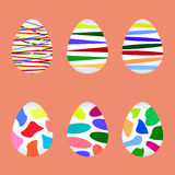 Easter eggs set vector. Six beautiful color paschal eggs set Stock Photos