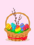 Paschal Wicker Basket With Easter Eggs Vector. Paschal wattled basket. Wicker basket coiled red ribbon with pussy willow brunch and bright painted easter eggs on Royalty Free Stock Images