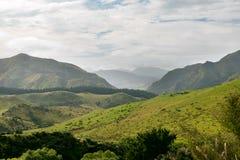 Pascoli e montagne verdi, Canterbury, Nuova Zelanda fotografia stock