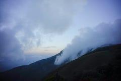 pascolo marrone sulla montagna con foschia immagini stock