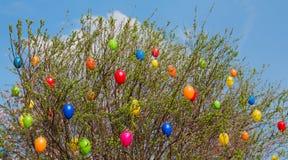 Pascua arbusto con los huevos plásticos coloridos Foto de archivo
