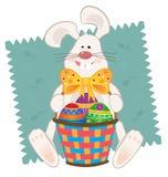 Pascua Bunny With Basket Fotografía de archivo