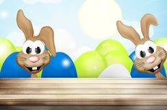 Pascua Bunny Easter Eggs Wood Fotografía de archivo