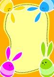 Pascua Bunny Eggs Greeting Card Foto de archivo libre de regalías