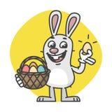 Pascua Bunny Holding Egg Basket y risas Foto de archivo libre de regalías