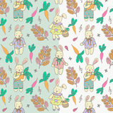 Pascua Bunny Illustration Doodle Vector Pattern Fotos de archivo