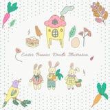 Pascua Bunny Illustration Doodle Vector Pattern Vector del garabato de los niños del ejemplo del conejo de Pascua Fotos de archivo