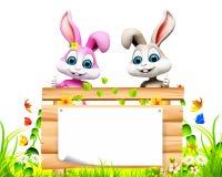 Pascua Bunny With Wooden Sign Imagen de archivo libre de regalías