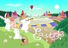 Pascua, cartel de la caza del huevo, historieta del conejo, ejemplo estacional del vector del día de fiesta de la celebración del stock de ilustración