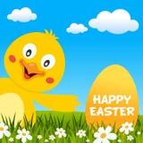 Pascua Chick Smiling y tarjeta de felicitación Imagenes de archivo