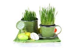 Pascua colorida adornó los huevos aislados en el fondo blanco Imágenes de archivo libres de regalías