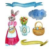 Pascua con las gallinas, los huevos de Pascua, la cesta de huevos, las flores en una regadera, las nubes y las cintas ilustración del vector