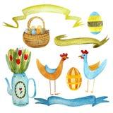 Pascua con las gallinas, los huevos de Pascua, la cesta de huevos, las flores en una regadera, las nubes y las cintas stock de ilustración