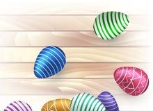 Pascua, dispersión verde, azul, violeta, rosada, huevos del oro con un ornamento en una luz festiva en fondo de los tableros de m libre illustration