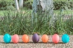 Pascua domingo, pascua feliz, los huevos de Pascua coloridos caza fondos del concepto de pascua de las decoraciones del día de fi Foto de archivo libre de regalías