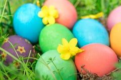 Pascua domingo, pascua feliz, los huevos de Pascua coloridos caza fondos del concepto de pascua de las decoraciones del día de fi Fotografía de archivo libre de regalías