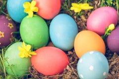 Pascua domingo, pascua feliz, los huevos de Pascua coloridos caza fondos del concepto de pascua de las decoraciones del día de fi Fotografía de archivo