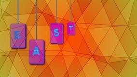 Pascua feliz Animaci?n video Etiquetas que vuelan con las letras de Pascua ilustración del vector